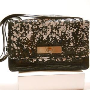 BCBG MAXAZRIA Black & White Sequin Leather Handbag